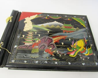 Vintage Black Enameled Japanaese Dragon Photo Album or Scrap Book