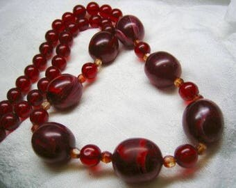 Vintage Cherry Marble Lucite Large Beaded Necklace