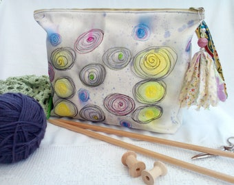 Knitting, crochet, anything! project/storage bag, OOAK, hand painted and machine embroidered, boho/gypsy tassle, side handle