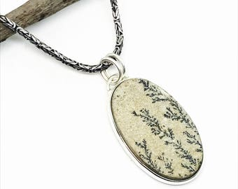Dendrite fossil, tree agate pendant, necklaces set in sterling silver 925. Genuine natural stone. Length- 2.25inch long.