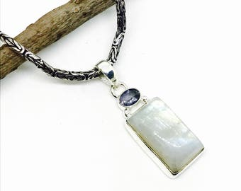 Rainbow Moonstone and amethyst Pendant, necklaces set in sterling silver 925. Length- 1.75 inch. Natural authentic stones.
