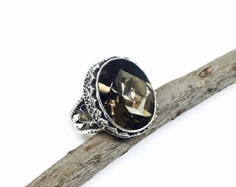 10% Smokey Topaz ring set in sterling silver 925. size -6. Natural genuine stone.
