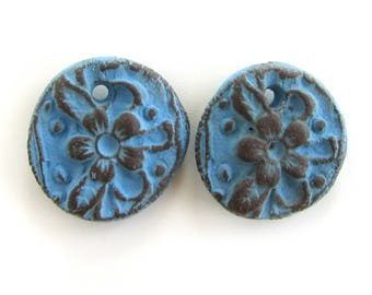 Blue Earrings Beads - ceramic beads, antique coins, rustic ceramic beads, retro beads, crafted rustic beads, aged beads, unique design