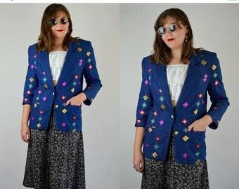 SALE AMEN WARDY | Medium Large | 1980s Oversized Blazer 80s Embroidered Southwestern Jacket Vintage Denim