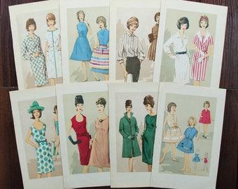 60s Women's Fashion Models - Set of 8 Vintage Book Pages, 1960s. Junk Journalling Smash Books Scrapbooking Illustration Print Paper Ephemera