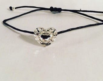 Swarovski button and cotton bracelet, sterling silver beads