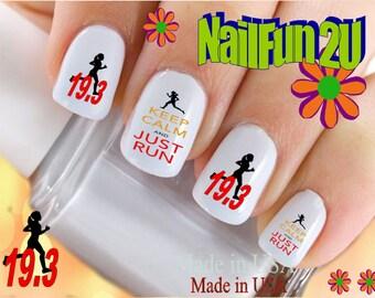"SPORTS Nail Decals ""Keep Calm Just Run Marathon 19.3 RED"" Nail Art Set#329 Waterslide Nail Decal Transfers Sticker Manicure Nail Accessories"