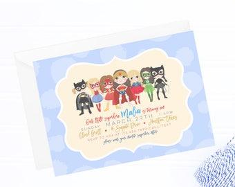 girl superhero invitation, superhero invitation, superhero party, superhero birthday, wonder woman invite