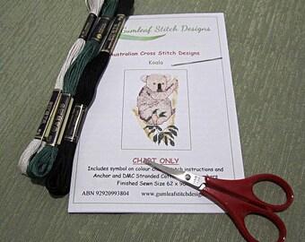 Australian fauna cross stitch chart - Koala.  PDF instant download