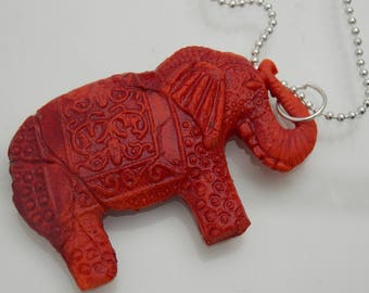 Antique effect elephant // Polymer clay necklace // 20""