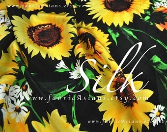 Sunflower black silk crepe by the yard