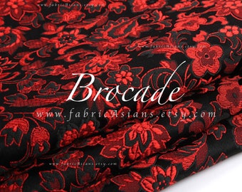 Red Black Brocade Jacquard fabric by the yard.