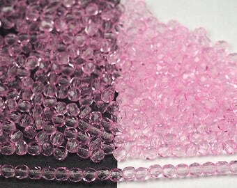 600 Crystal Pink Shimmer coated 3mm, Preciosa Czech Fire Polished Round Faceted Glass Beads, Czech Glass Fire Polish Beads, loose