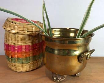 Vintage brass planter Medium