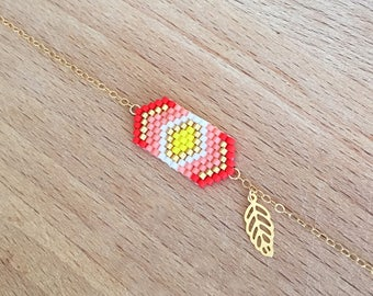Bracelet weaving geometric coral and small leaf gold plated 16 k