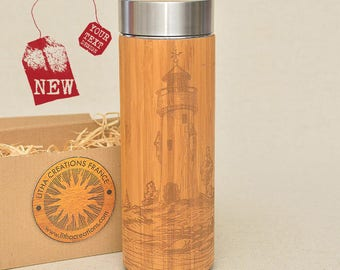Customized Thermos Engraved Bamboo Wood PHARE Stainless Steel with Screw Lid