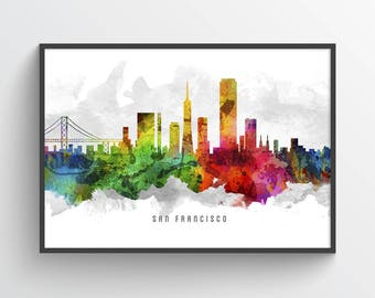 San Francisco California Skyline Poster, San Francisco Cityscape, San Francisco Print, San Francisco Decor, Home Decor, Gift Idea, USCASF12P