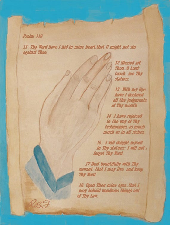 Praying Hands Watercolor Painting by Rosie Foshee