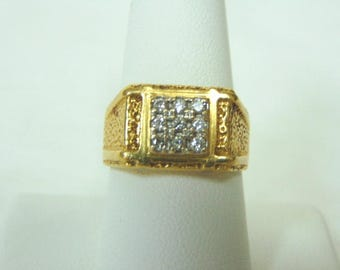 Attractive Vintage Estate 18K Mens Yellow Gold Ring w/ Diamonds, 9.1g  E950