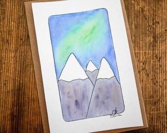 Northern Lights Mountain Original Illustration • Art, print, 6x4, aurora borealis, watercolour, iceland, nature, adventure, travel, norway