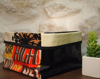 Tidy/cart mix black and beige oilcloth