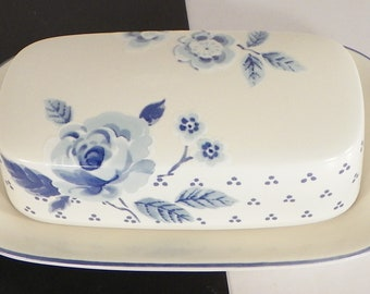 Mikasa BLUE SONATA 1/4 Pound Covered Butter Dish Floral
