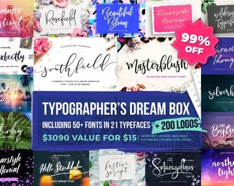 99% OFF Font Bundle | Typographer's Dream Box + 200 Logos | Modern Handwriting Font Bundle | Calligraphy and Wedding Fonts | Instant Digital