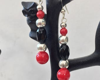 Red and Black Coral and Onyx bead Earrings