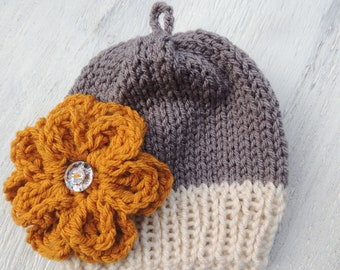Knit flower Beanie, Luv Beanies, Baby girl hats, hats for girls, flower hats, knit hats, Baby hats, Baby Beanies, Flower Beanies, Girl hats
