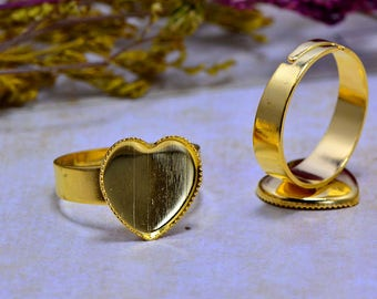 5 Supports Cabochon 12mm (T304) gold ring set