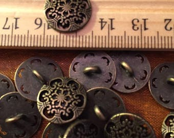 15 mm antique brass colored metal shank button, fancy cut outs, set of 10
