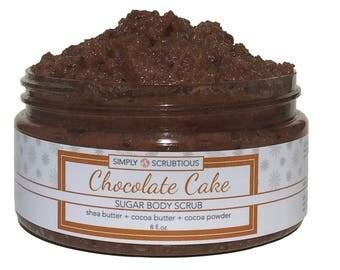 CHOCOLATE CAKE Sugar Body Scrub-Chocolate Body Scrub-Emulsified Body Scrub-Cocoa Body Scrub- 8 oz.
