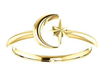 Any Color 14K Gold Crescent Moon And Star Negative Space Ring