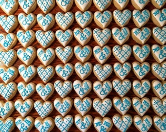 Mini Heart Sugar Cookies, Decorated Hearts Cookies, Bridal Shower Cookie favors, Hearts, Mr. & Mrs. Cookies, Wedding Favors, Wedding Cookies
