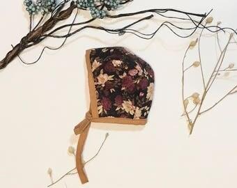 Newborn Bonnet Floral, RTS, Fall Bonnet, Pilot Bonnet, MultiFloral, Burnt Red flowers, Earth tones bonnet