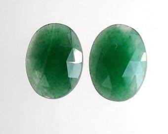 Natural Aventurine Gemstone : 9.50cts. 100% Natural Green Aventurine Oval Shape Rose Cut Slice 15*11mm Pair