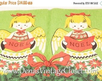 Summer Clearance Sale Vintage Mid Century Noel Fallani & Cohn Linen Christmas Towel Singing Angels The Ryan Collection