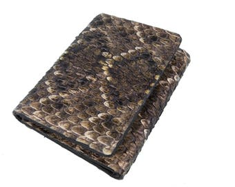 Real Rattlesnake Skin Wallet: Trifold (598-W302)