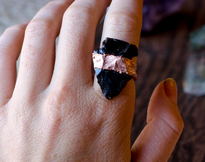 Black Obsidian Arrowhead and Copper Ring Size 6 3/4