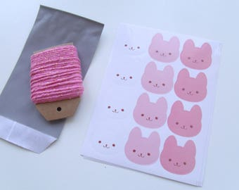 "Labels stickers ""rabbits"" 3 color 2.6 cm * 3.7 cm"