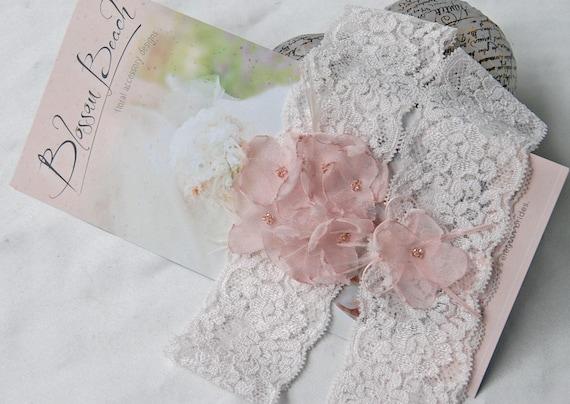 Blush floral bridal garter set;blush wedding garter set;blush pink bridal garters