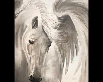 Pegasus Art Print // Gallery Quality Giclée Print // Tony Rector // 12 x 15 Acrylic Giclee Art Print // Untamed, Winged Horse Art