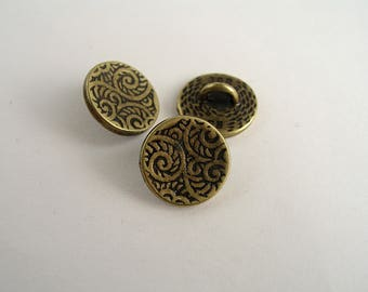 button engraved brass 12mm 1pc