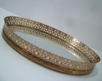 VANITY DRESSER TRAY. Vintage Gold Tone Filigree Mirrored Vanity / Dresser Tray. 1950's Perfume , Jewelry Tray.
