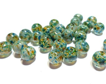 Set of 10 8 mm beads, glass speckled tones blue / yellow / grey, round shaped, 0.8 cm diameter