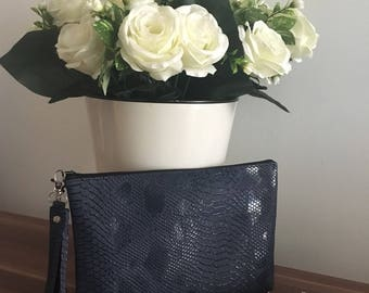 Snakeskin look clutch bag / navy strap bag/ wedding clutch / navy blue  snake skin faux leather