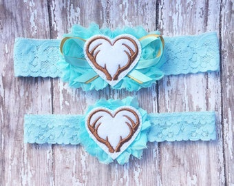 Antler Hearts Garter Set | Something Blue Hunting Wedding Garters | Bridal Garter and Toss Garter | Other Colors Available