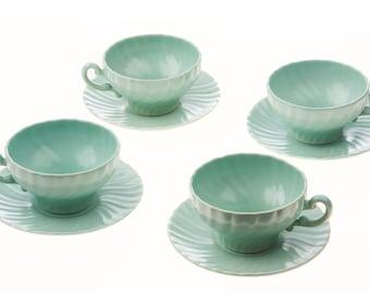 """Franciscan """"Coronado"""" Matte Aqua, 4 Teacups/Saucers Set, 1934-1954"""