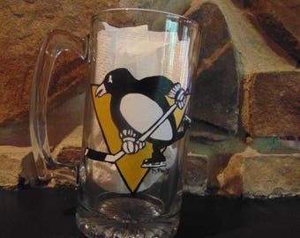 hand painted Pittsburgh Penguins beer mug