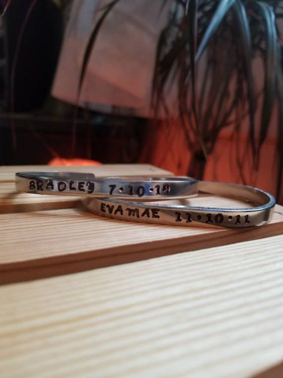 Personalized Name and Birthday Hand Stamped Bracelet